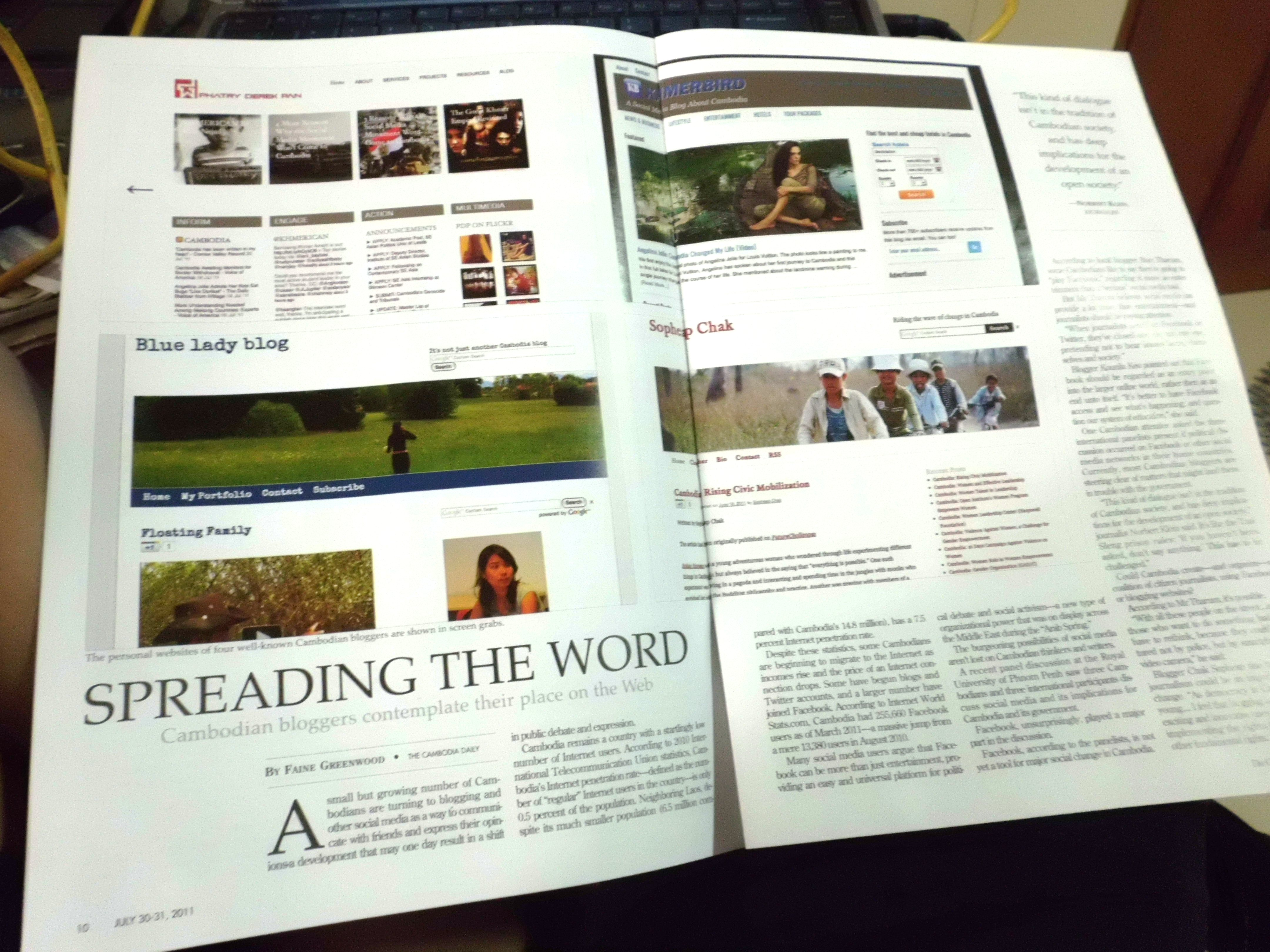 Spreading the world on the Cambodia Daily. July/2011